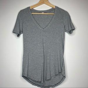 Lululemon black and white striped v neck top tee